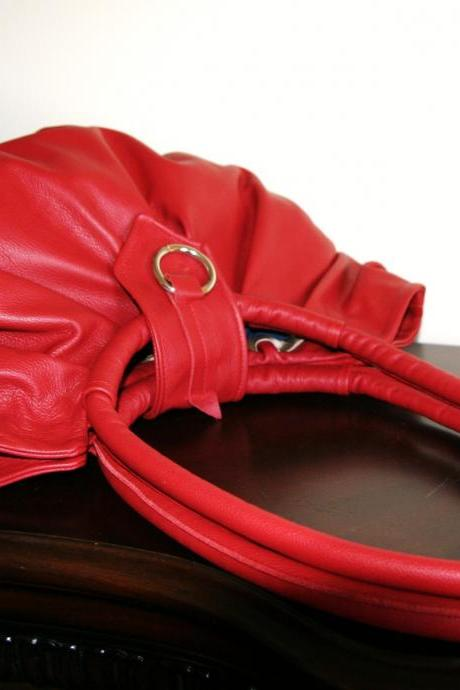Red pleated leather purse