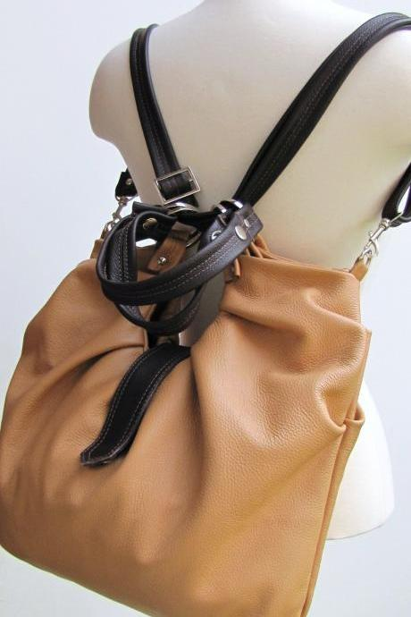 Large leather bag, pleated, convertible purse - Vanilla & Chocolate