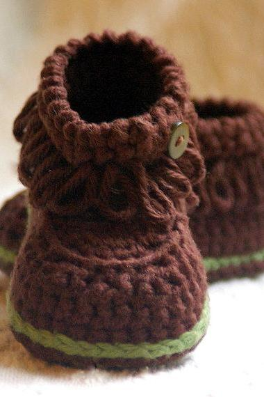 Crochet Pattern Fringe Baby Booties - Pattern number 207