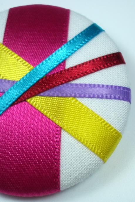 Brooch - Candy Stripes- made with a Giant Button
