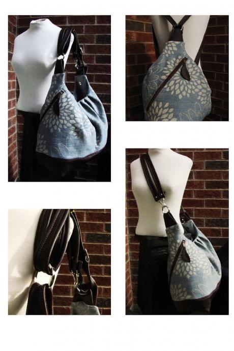 Extra large canvas tote with leather, convertible bag - Blue blossom
