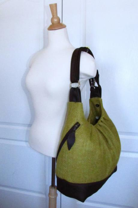 READY TO SHIP Large canvas bag with leather straps, base, & zipper top closure - Olive green convertible backpack, laptop diaper bag