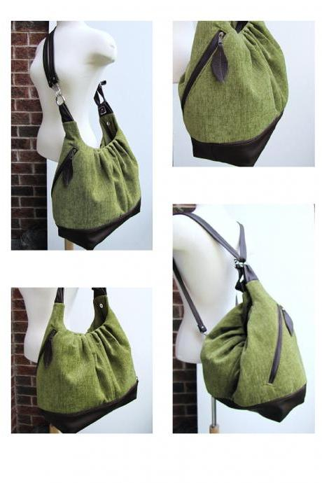 READY TO SHIP Green canvas leather bag, extra large 17 inches laptop diaper bag, convertible 3 way pursev - Kiwi green