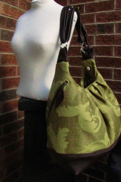 Extra large diaper bag in canvas and leather straps, base, convertible backpack purse - Olive gold vines