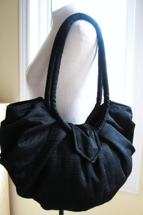 Large black cotton bag, hobo bag, classic black pleated style purse