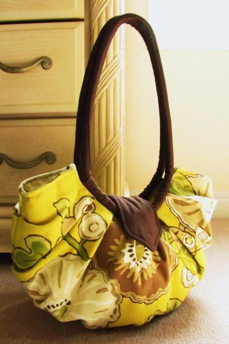 Large yellow floral canvas purse - Chartreuse