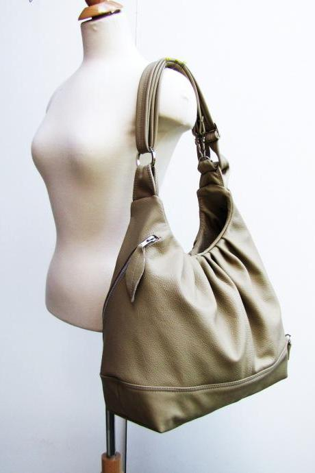 Large leather bag 3 way convertible backpack purse - Light khaki