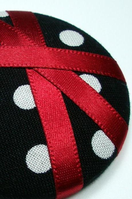 Ponytail Holder - Red Polka - Giant Button