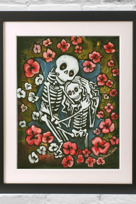 Giclee Print - Cute Calavera Poppy Field - Day of the Dead Art - Skeleton With Hearts and Flowers Poster