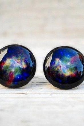 Galaxy Earrings Stud, Space Jewelry, Silver Posts, Blue Purple Green Black