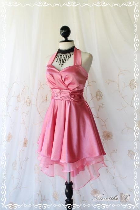Cinderella Story II Goddess Cocktail Dress Asymmetric Hem Pink Satin Color Longer Organza Lining S