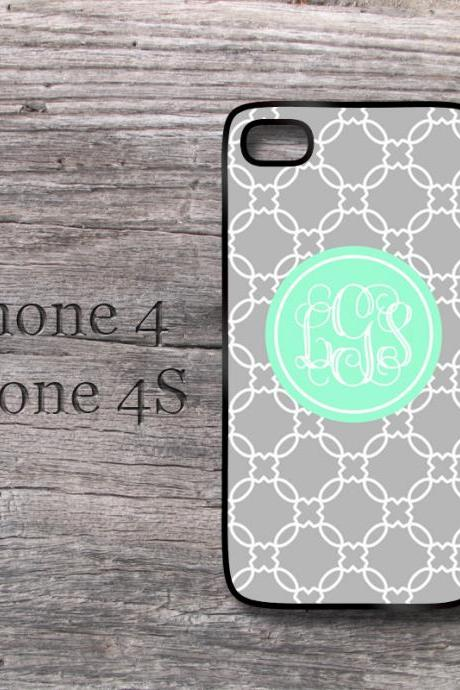 iPhone 5 personalized monogrammed hard case mint and gray damask hard cover