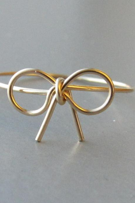 18K Solid Gold Bow Ring, Bow Ring, Gold Bow Ring, Dainty Ring, Forget Me Knot Ring, Tie the Knot Ring, Promise Ring