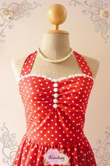 Red Polka Dot Party Dress Vintage Inspired Party Tea Dress Bridesmaid Holiday Polka Dot Unique Handmade Dress -Size XS, S, M, L, XL