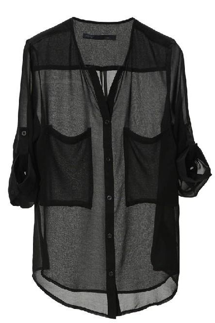 Black Chiffon Plunge V Tabbed Sleeve Button Down Shirt With Pocket Accent