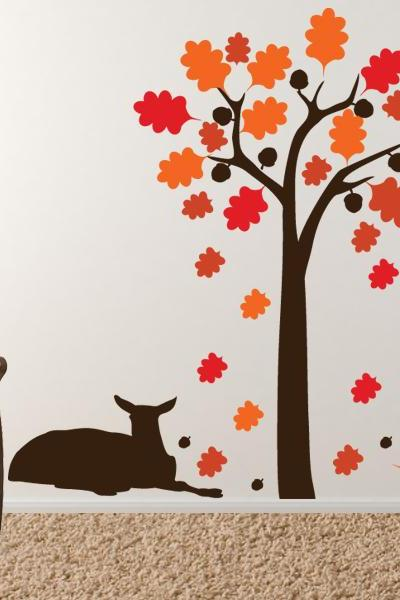 "Deer relaxing under the Acorn Tree - Vinyl Wall Decal - FREE SHIPPING 86""x72"""