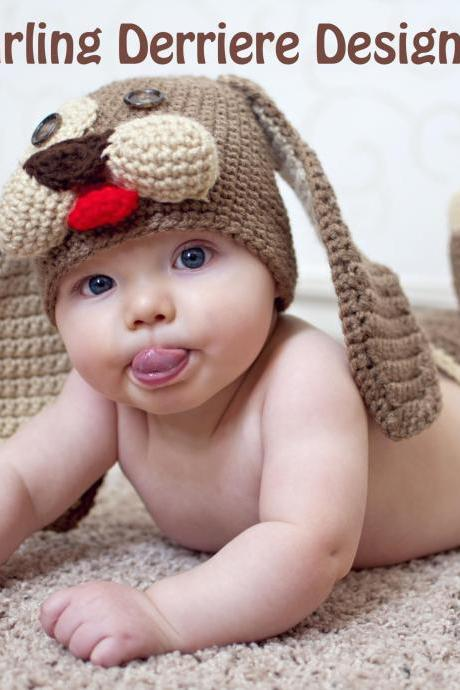 Baby Puppy Hat and Diaper Cover Crochet Pattern PDF