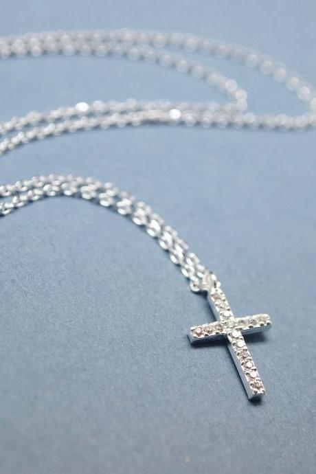 Rhinestone Cubic Zirconia Cross Necklace in silver