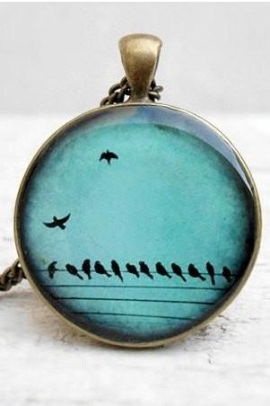 Teal Birds on Wire Necklace Nature Bird Pendant, in Flight, Wings