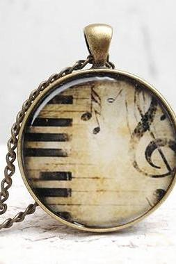 Musical Necklace Jewelry, Treble clef earrings in beige black, vintage piano