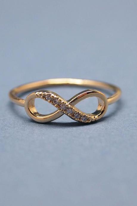 Infinity Ring in gold color-size 6