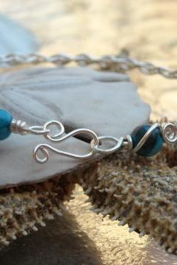 Braided Bangle w Turquoise colored stone