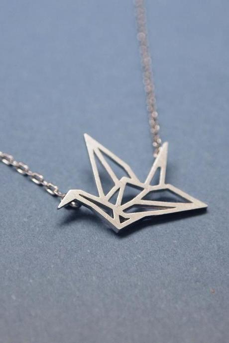 Origami Crane Necklace in matte silver