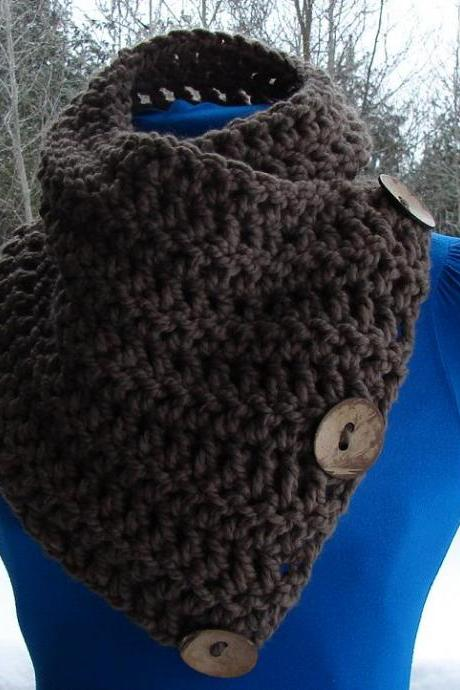The Saranac Coconut Button Cowl Scarf - Choose a Color
