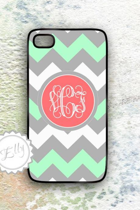 Personalized iphone 4 4s chevron case mint grey and coral monogrammed hard cover for i phone