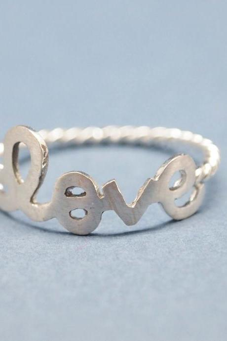Love with twisted ring band in 925 sterling silver-size 5