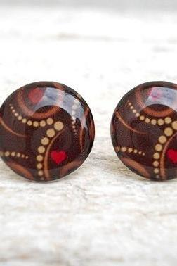 Christmas Earrings, Brown Red Heart, Modern Retro Style, Buy Tree in Special Price