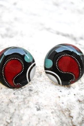 Geometric Earrings studs posts White Blue Brown Red, Special Gift