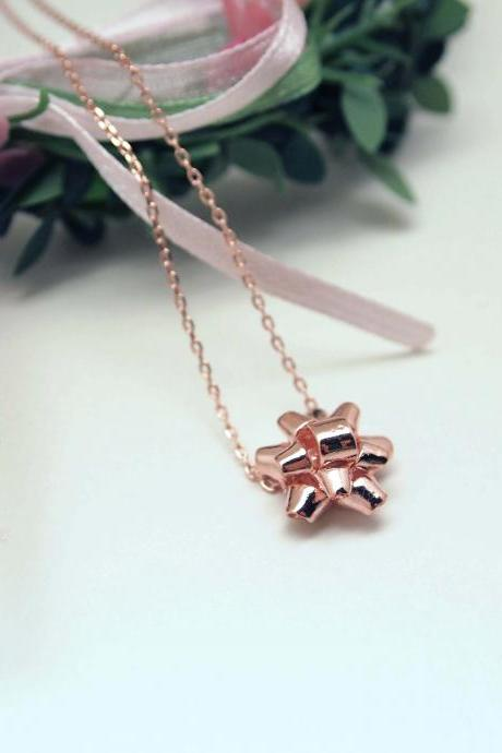 Gift Wrapping Bow Necklace in pink gold