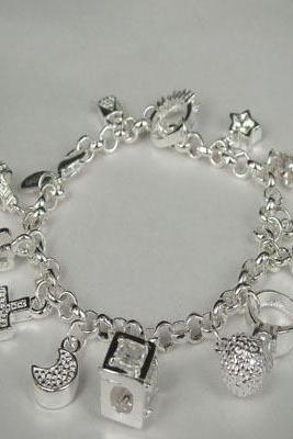 Sterling Silver Plated Star Moon Cross 13 Charms Chain Bracelet