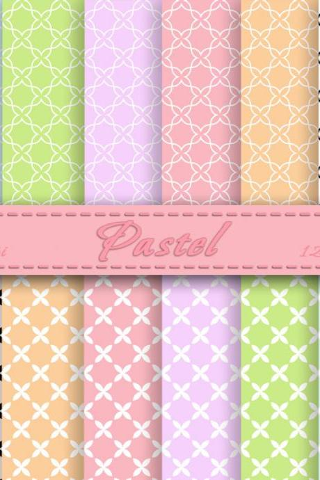 Pastel Digital Scrapbooking Papers Digital scrapbook paper pack Backgrounds for personal or commercial use