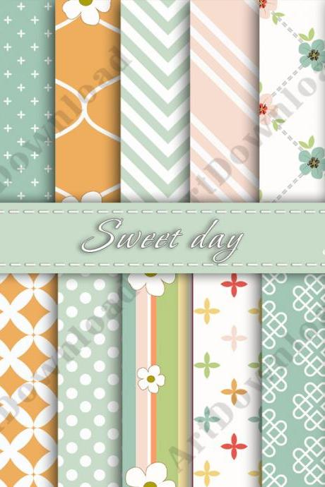 Sweet Day Digital Scrapbooking Paper Digital Collage Sheet Digital Downloads Cardmaking Invitations
