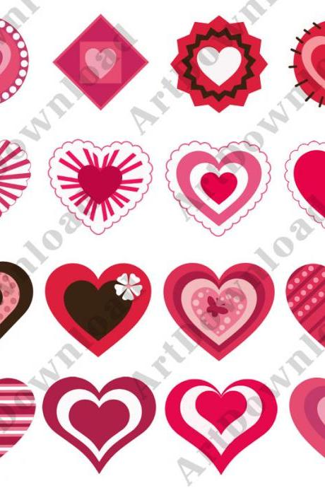 Clip art Hearts Digital hearts Pnj Digital Scrapbooking Paper Valentine Love Heart Digital hearts