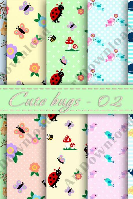 Cute Bugs Digital Paper Paper Pack Digital Scrapbooking Invitation card For Personal Or Commercial Use