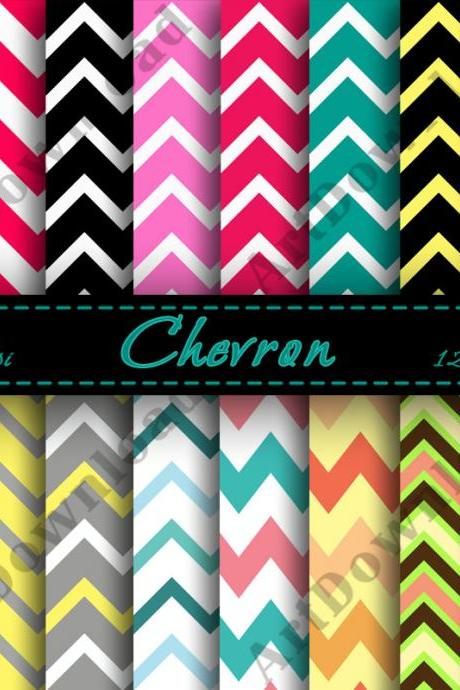 Chevron Digital Paper Digital Downloads Scrapbooking Paper Printable Invitations Cardmaking