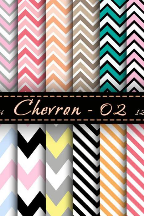 Chevron Digital paper set Zig Zag Paper Chevron Scrapbook Paper Digital Downloads Cardmaking