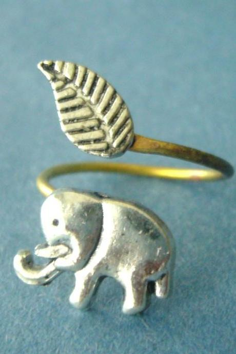 Elephant wrap ring, adjustable ring, animal ring