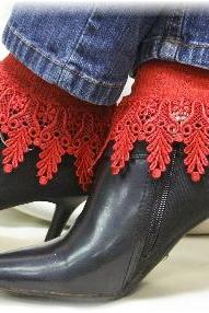 My Signature Lace Sock - long red venise lace cuff socks womens - Catherine Cole Studio - victorian lace boot socks MADE IN USA (SLC2)From CatherineColeStudio