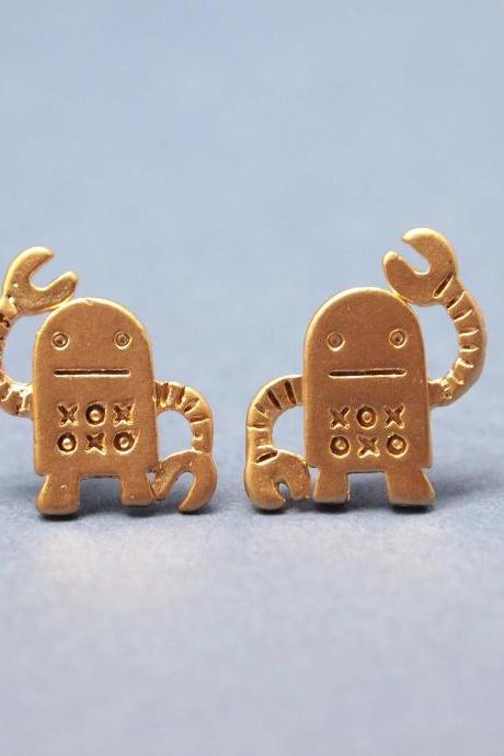 unique robot post earrings in gold