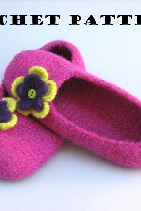 Adult Felted Slippers Crochet Pattern PDF,Easy, Great for Beginners, Shoes Crochet Pattern Slippers, Pattern No. 42