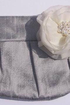 Bridesmaid Clutch - Grey / Silver hidden Wristlet Clutch - Perfect Bridesmaid Gift (available in all colours)