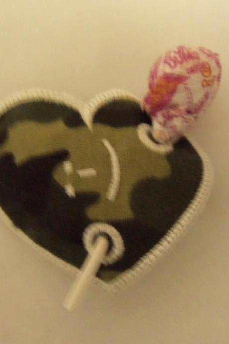 Valentine's Day /Birthday Sucker Holder, Heart Camo with smile face free shipping