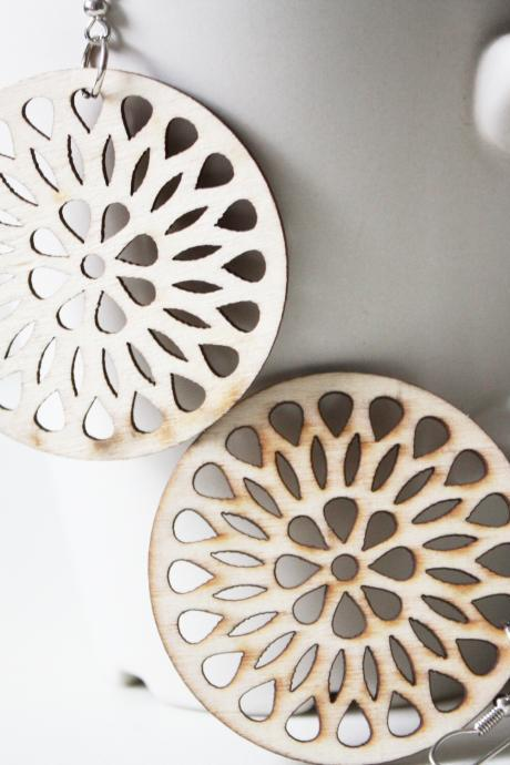 Natural Lemon Seed Laser Cut ,Naturally Beauty Recycle Wood Earring