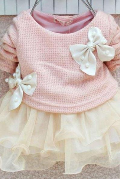 Newborn Girls Pink Dress with Pearl and Bows Ivory Tutu Soft Pink Dresses-Pink Baby Girls Dresses