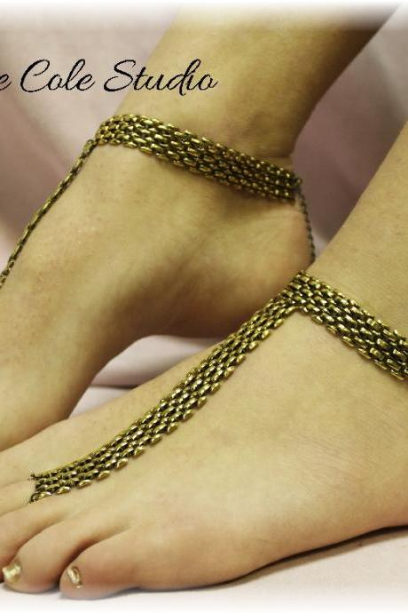 BRONZE GOLD chain metal mesh Barefoot sandals great for summer , 1 pr. slave sandals foot jewelry resort wear Catherine Cole BF7