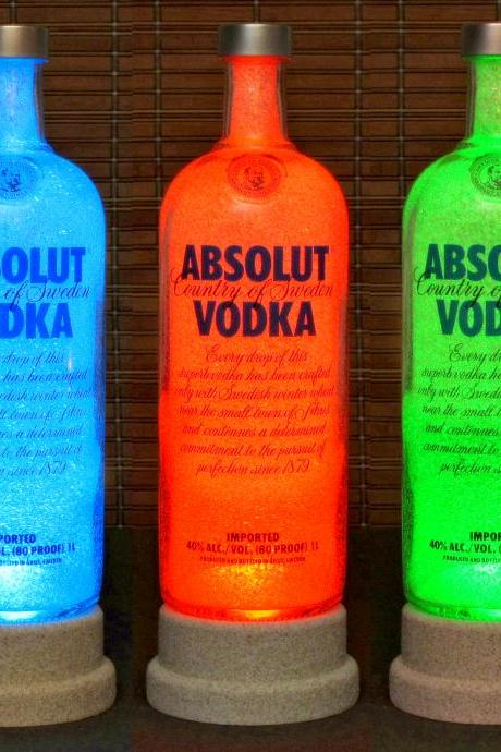 Absolut Vodka Color Changing LED Remote Controlled Bottle Lamp Bar Light Bodacious Bottles